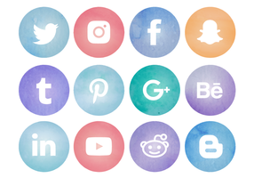 Gratis Aquarel Social Media Logos