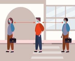 mensen die gezichtsmaskers gebruiken terwijl ze sociaal afstand nemen van covid19