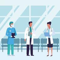 artsen die medische maskers dragen binnenkant van wachtkamer