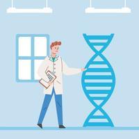 mannelijke wetenschapper met dna-molecuul