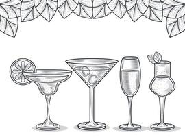 cocktail drinkt line-art samenstelling vector