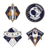 lucht en ruimte retro badge set vector