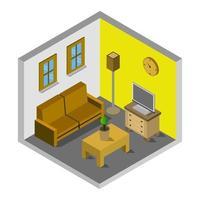 isometrische woonkamer op wit
