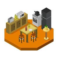 isometrische keukenruimte op wit vector