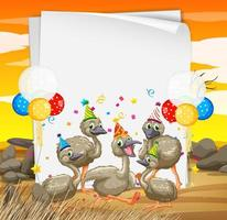 papieren sjabloon met dieren in feestthema vector