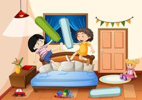 slaapkamer met veel speelgoed en twee meiden