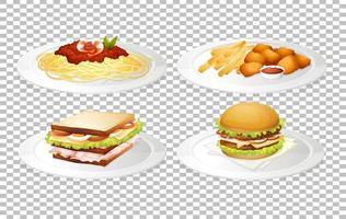 set van voedsel op borden