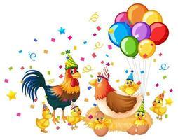 kippenfamilie in feestthema