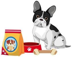 franse bulldog met hondenvoer en botspeelgoed
