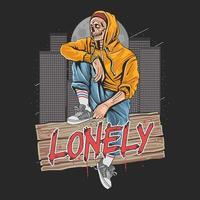 eenzame zombie in de stad vector