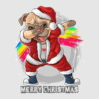 Kerstman de schattige pug