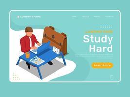 online onderwijs hard studeren op de laptop vector