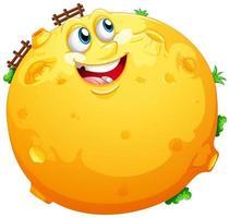 gele maan met blij gezicht