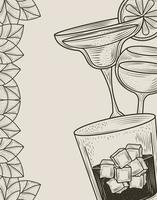 cocktail drinkt line-art samenstelling
