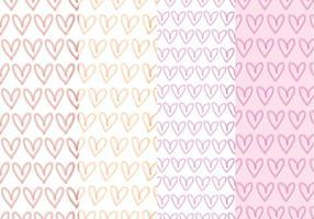 Vector Hand Drawn Hearts Patterns