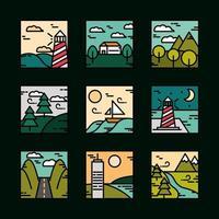 vierkante landschap icoon collectie