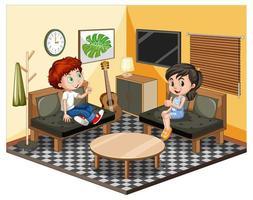 kinderen in de woonkamer in geel thema