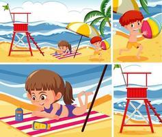 kinderen bij de reeks van de strandachtergrond vector