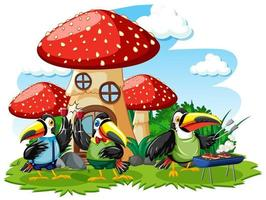 paddestoelhuis met cartoonstijl van drie vogels