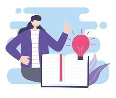 online training, jonge vrouw lesgeven uit boek