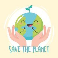 handen met gelukkig aarde cartoon