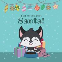 grappige leuke kerstgroet met husky hond