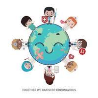 heldendokters en verpleegsters die de wereld genezen vector