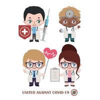 team van diverse doktoren die vechten tegen covid-19