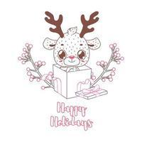 fijne feestdagen groet in lineart-stijl met schattige rendieren