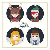vrouwen verkleedden zich als kerstpersonages