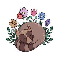 slapende wasbeer potloodstijltekening vector