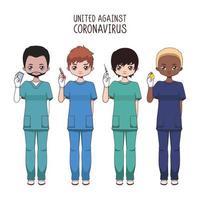 team van diverse mannelijke verpleegsters