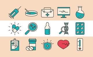 vaccin onderzoek en wetenschap icoon collectie