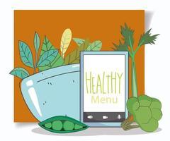 gezond menu en e-commerce-samenstelling voor vers voedsel