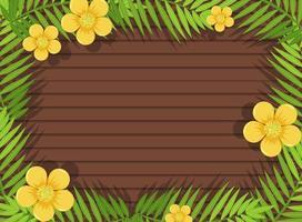 bovenaanzicht van lege houten tafel met bladeren