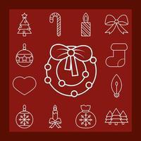 Kerst lijntekeningen icoon collectie