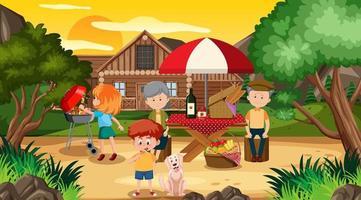 picknickscène met gelukkige familie voor huis