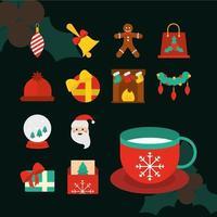 kerst platte icoon collectie