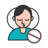 persoon met covid19-symptoom en stopsymbool