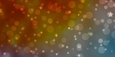 blauw, geel en rood sjabloon met cirkels, sterren.