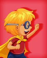 jongen draagt superheld kostuum