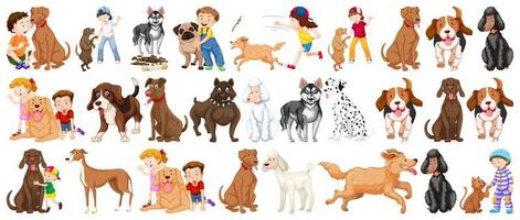 set van hond stripfiguren vector