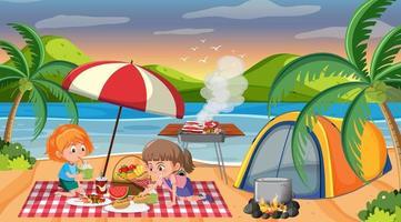 picknickscène met gelukkige familie die bij het strand kamperen