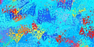 veelkleurige lay-out met driehoeksvormen.