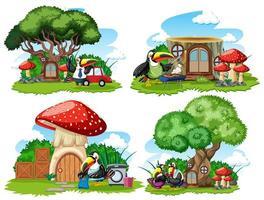 set van fantasie natuur huizen met tekenfilm dieren