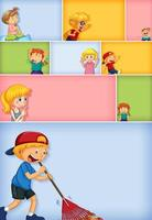 set van verschillende kid-tekens op verschillende kleurenachtergrond