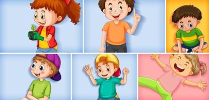 set van verschillende kid-tekens op verschillende kleurenachtergrond vector