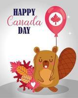 happy canada day viering kaart met bever