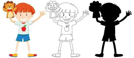 jongen speelt met pop hand in kleur en omtrek en silhouet