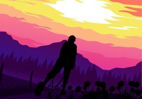 Sunset Nordic Walking Gratis Vector